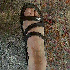 Crocs Swiftwater Brown Slip on Slide Sandals 10